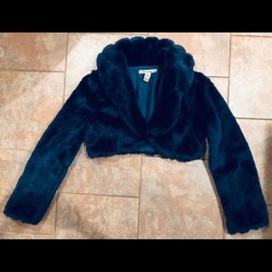 CROPPED FAUX FUR COAT/ jacket Size S